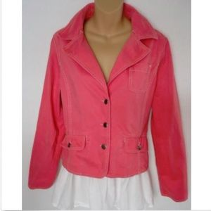 Think Tank Jacket Top Blazer Coral Pink Button